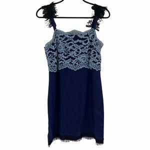 Club Monaco Lace Detail Navy Mini Dress Size 2